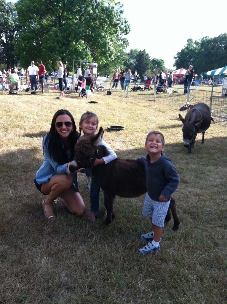 The Serene Oaks Dental team at the Farm Fest Petting Zoo