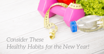 A weight, measuring tape, and healthy food represent starting healthy habits for the new year
