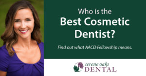 Dr. Horn in a purple top in a field, with the text, Who is the best cosmetic dentist? Find out what AACD Fellowship means.