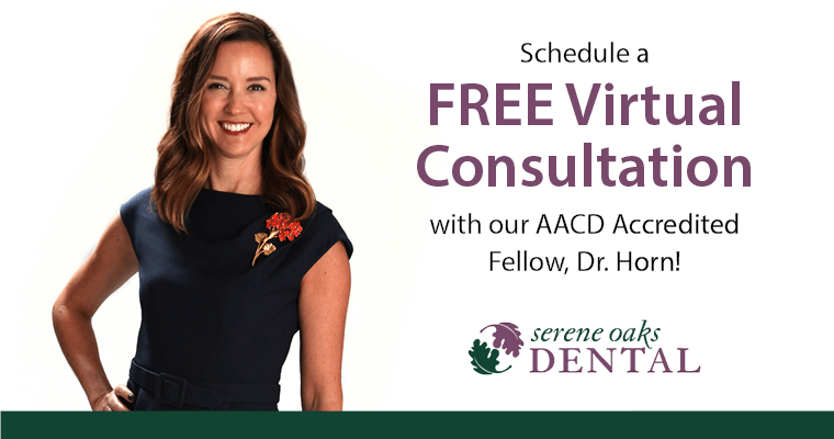 Dr. Horn in a navy dres with a red flower, and the text, Schedule a free virtual consultation with our AACD Accredited Fellow, Dr. Horn