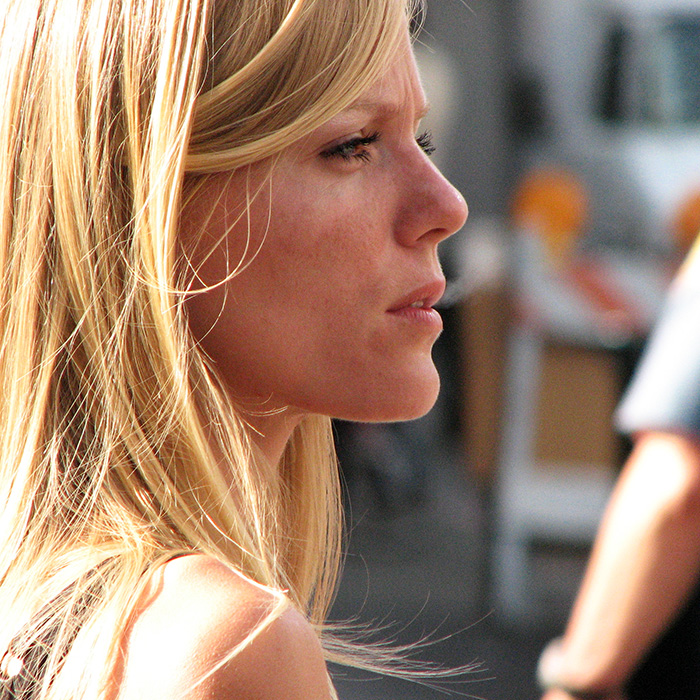 A woman with a serious look on her face