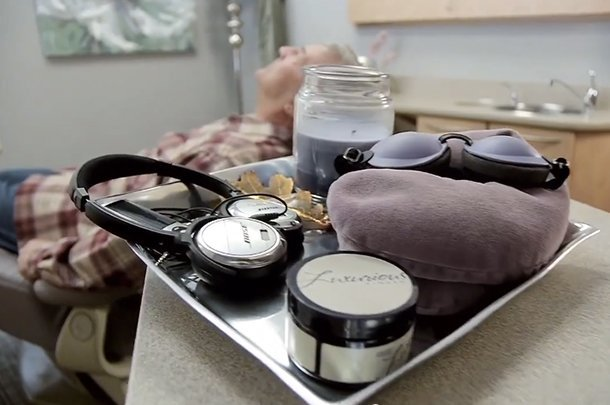 Amenities offered to our patients during care includes noise canceling headphones, aromatic candles, and more.