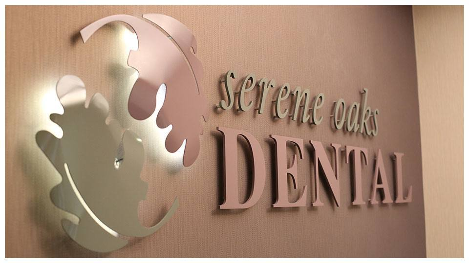 The Serene Oaks Dental sign inside our North Oaks dental office.