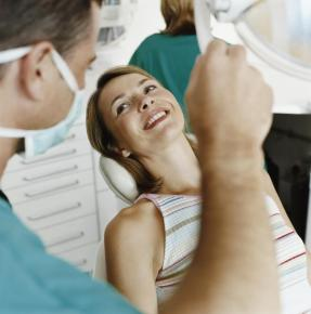 A woman getting dental care